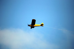 A plane flies over Manasquan Beach. (apardavila) Tags: jerseyshore plane sky smallplane