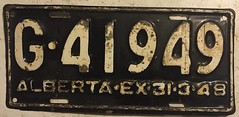 ALBERTA 1947 (EX-31-3-48) ---GOVERNMENT LICENSE PLATE (woody1778a) Tags: alberta government licenseplate numberplate registrationplate alpca npcc history canada 1947 mycollection myhobby