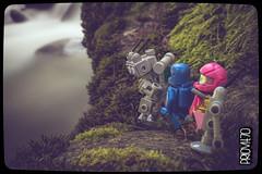 Cul-de-sac (Priovit70) Tags: lego minifigures mrrobot benny kelly mountains rock stream rapids moss olympuspenepl7