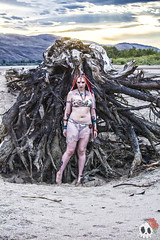 _MG_0011 (Deadly Darling DP) Tags: beach sand nature outdoors bakini dreadlocks gothic goth woman chick tattoos makeup tree roots driftwood log