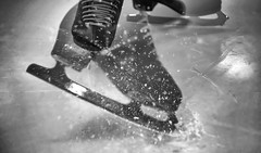 Ice Skating in August (rona black photography) Tags: iceskating figureskates icespray blackandwhite bw monochrome