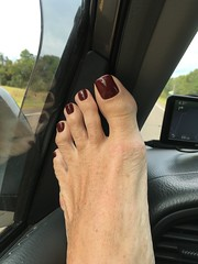 On the Road - Toed! (toepaintguy) Tags: male guy men man masculine boy nail nails fingernail fingernails toenail toenails toe foot feet sandal sandals polish lacquer gloss glossy shine shiny sexy fun daring allure gorgeous glitter maroon red brown creme