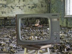 Chernobyl (Michael Zahra) Tags: europe ukraine russia soviet cccp nuclear disaster radiation abandoned ubex postapocalyptic rust decay dirt 645z 645 pentac ricoh ricohimaging school child children kids education gas mask respirator chair electrical