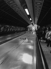 Go Down (sake028) Tags: london tube londontube underground londontransport blackwhite blackandwhite schwarzweiss sw uk england rolltreppe symmetrie iphone