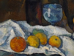 CEZANNE,1877-79 - Le Buffet - Still Life, The Buffet (Budapest) - Detail -f (L'art au prsent) Tags: art painter details dtail dtails detalles painting paintings peinture peintures 19th 19e peinture19e 19thcenturypaintings 19thcentury detailsofpainting detailsofpaintings tableaux paulczanne paulcezanne cezanne czanne stilllife naturemorte budapest hongrie hungary citrons citron lemon lemons orange oranges nappe nappeblanche whitecloth chiffon cloth bleu blue tasse cup sucrier sugarbowl buffet knife fruit food pomme apple apples glass verre dessert biscuits