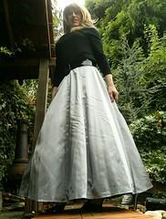 Skirt Angle (Amber :-)) Tags: long silver satin skirt tgirl transvestite crossdressing