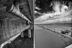 20120424-DC2C6663-Edit.jpg (Mookalafalas) Tags: bridge blackandwhite clouds scenery taiwan fisheye ultrawide uwa floodplain sigma15mm cigu canon5d3