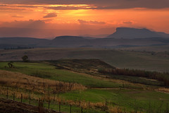Golden Hour (Ania.Photography - travelling) Tags: travel sunset sky orange color green nature field grass clouds landscape southafrica dusk idyllic scenics mountainrange drakensberg bej