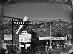 Along The Mother Road In B&W (pam's pics-) Tags: new bw food signs newmexico southwest west architecture vintage mexico hotel route66 neon lodging albuquerque motel gas abq nm neonsigns motorinn centralavenue vintagesigns motorlodge motorcourt overnightontheroad nikond5000 picmonkey april2012roadtrip lalunalodge