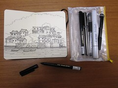 Pocket Sketch Kit -  Po Toi O Fishing Village, Sai Kung, HK (jmheadaia) Tags: china moleskine hongkong waterfront sketchkit
