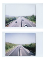 The Bypass (hazel.jane) Tags: road summer sun cars polaroid driving fujifilm instax