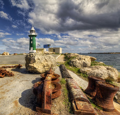 (More) Rust and the Lighthouse (B.M.K. Photography) Tags: ocean clouds rust rocks chain fremantle hdr southmolelighthouse greenlighthouse