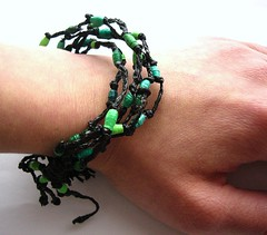 Bracelet made of plastic bag and paper beads (d'ekoprojects) Tags: bracelet ecofriendly handmadejewelry paperbeads upcycled recycledjewelry handmadebracelet ecofriendlyjewelry upcycledjewelry paperbeadjewelry