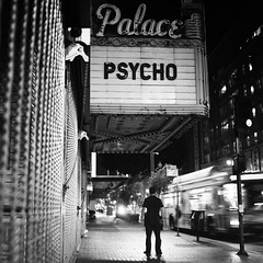 psycho (Andy Kennelly) Tags: bw bus film night zeiss dark movie la los theater angeles streetphotography hasselblad psycho carl figure after medium format alfred hitchcock