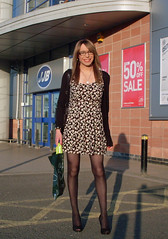 Happy Shopper (Starrynowhere) Tags: black public outdoors glasses emma tights crossdressing tgirl transgender tranny transvestite heels pantyhose crossdresser minidress transvestism