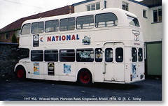 National Travel South West Publicity Unit Bristol LD6B YHT 953, Moravian Road 1978. (Bristol RE) Tags: bristol national kingswood topdeck wessex ecw easterncoachworks bristolomnibus topdecktravel moravianroad ntsw yht953 l8452 publicityunit