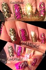 Gold, Hot Pink & Black with Glitter (iLuvUrNailz) Tags: art nails nailart polishednails polishednail naildesigns nailartdesigns handpaintednailart nailswag nailartaddicts iluvurnailz