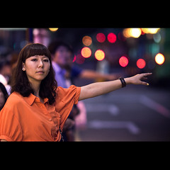 Hey Taxi (Charles Wonderland*) Tags: life street woman cinema beauty night canon movie traffic bokeh candid taxi wait 365 moment macau cinematic 135mm canonef135mmf2lusm 60d