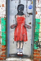 graffiti girl by Nick Walker NYC (heathermariecarr) Tags: door nyc newyorkcity streetart stencils art girl illustration painting graffiti mask spraypaint redshoes reddress nickwalker heathercarr heatherunderground