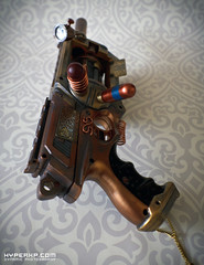 Steampunk Gun : 1 : Nerf Maverick : TinkSPG (HyperXP.com) Tags: halloween metal modern bronze silver painting toy toys gold costume outfit mod punk paint gun ray cosplay barrels metallic character painted dial steam fantasy weapon worn copper modified spraypaint aged revolver custom nerf brass weaponry job gauge distressed fancydress futuristic prop blaster barricade maverick ageing steampunk customised basecoat sprayed nstrike picdump debranded hyperxp hyperxpcom paulhamlet