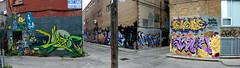 Panorama 6 v2 (collations) Tags: toronto ontario graffiti laneways alleys lanes alleyways queenalley