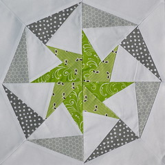 Block for Me (jenjohnston) Tags: green grey star pinwheel lime quiltblock paperpieced quiltingbee