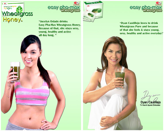 Jocelyn Oxlade and Dyan Castillejo drink Easy Pha-Max Wheatgrass