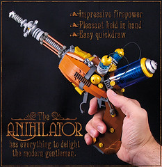 Anihilator in hand (captainsmog) Tags: sf gun rivets hand lego space pistol copper raygun blaster steampunk 11scale