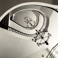 Kronleuchter (Roger_T) Tags: bw vortex eye architecture stairs square blackwhite stair latvia treppe chandelier architektur sw coil schwarzweiss lithuania luster trakai 2012 spirale candelabra quadratisch lustre candelabrum litauen kronleuchter windhose treppenauge sonyalpha200