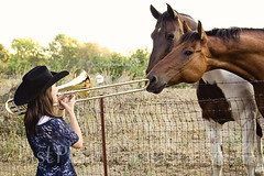 Music Lovers Come in all Shapes and Sizes... (Pony girl2 (catching up..again)) Tags: horse music girl pasture trombone equine teenage