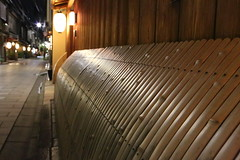 Bamboo fence (Teruhide Tomori) Tags: street travel light house building japan night fence town construction kyoto traditional bamboo    lantern    woodenarchitecture