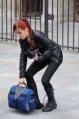 Girl with red braid, boots and big lens (Franco & Lia) Tags: street paris girl candid redhead braid ragazza flickraward stphotographia mygearandme