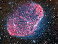 The Crescent Nebula NGC 6888 Bi-Color (Terry Hancock www.downunderobservatory.com) Tags: camera sky monochrome night stars photography mono pier backyard fotografie photos space shed science images astro crescent observatory telescope astronomy imaging 12 ccd universe 27 f8 cosmos technologies constellation paramount luminance emission caldwell the lodestar teleskop astronomie byo cygnus oiii deepsky halpha ngc6888 narrowband astrograph sharpless autoguider starlightxpress astrotech Astrometrydotnet:status=solved ritcheychrtien Astrometrydotnet:version=14400 mks4000 qhy9m gt110s 105sii Astrometrydotnet:id=alpha20120794950891