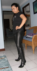 Leggings with New Leather Boots (johnerly03) Tags: leather asian high boots philippines heel filipina leggings fasion erly