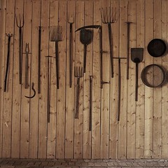 sickle, scythe, sieve and spade (mags_Tag) Tags: square austria tools rake hoe sickle pitchfork spade implements scythe sieve schlosshof pca217