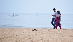 Love birds in lovely beach :) (Sathish_Photography) Tags: morning blue sea india love beach birds marina early weekend pigeon lovers photowalk chennai tamilnadu cwc clickers