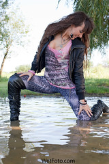 #120.1 (Wetlook with WetFoto.com) Tags: woman lake sexy wet water girl beautiful swimming fun photo model wasser adult boots free clothes soak jacket getwet splash baden dripping mdchen leggings singlet nass wetlook fullyclothed wetfoto