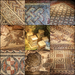 Eight mosaics and a hypocaust, Chedworth Roman Villa, Gloucestershire (alanhitchcock49) Tags: mosaic collage chedworth roman villa gloucestershire national trust hypocaust