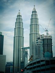 Petronas Twin Towers, KLCC (CeeKay's Pix) Tags: malaysia morning maxis car rushhour kualalumpur twintowers traffic klcc
