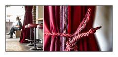Red Velvet (red stilletto) Tags: southmelbourne southmelbournemarket velvet redvelvet leather redleather stool barstool curtains drapes famousflickrfive colourpalettes colourpalettesstreets red