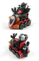 Mini Racers: Tri Bat (Unijob Lindo) Tags: lego mini miniature micro racers racing race kart mario karting bat trio basil batlord vladek knight train tiny turbo car vehicle locomotive bats cars minifig figure minifigure leg godt black red gray grey dark batman mudguard mudguards fright knights grille shield morcego chair seat helmet arm arms wings steering wheel rim trinity