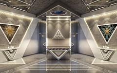 Reception Lobby - White Option (andrei.pastushuk) Tags: luxury vip office reception interior design architecture symmetrical highend stylish grey white concrete lighting enchanting magic magical enigmatic arcane andreipastushuk apdesign art deco decor contemporary modern indoor