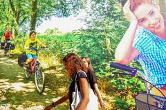 Girls in forest? (Zeist) (PaulHoo) Tags: fujifilm x70 urban city citylife zeist holland netherlands 2016 shopping billboard girls lady ladies women woman beauty advertising forest trees background fun