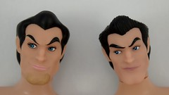 Deluxe vs Designer Gaston 12 Inch Dolls - Shirtless - Lying Down - Closeup Front View (drj1828) Tags: us disneystore dfdc heroesandvillains disneyfairytaledesignercollection 2016 gaston purchase deboxed deluxedollgiftset beautyandthebeast comparison undressed outfits shirtless 12inch