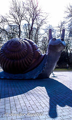 Snail Statue (Bernsteindrache7) Tags: winter autum stone street statue landscape outdoor sky himmel heaven handy light mnchen munich germany