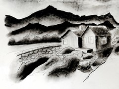 Cottage by the Mountain (arkamitra lahiricolour) Tags: india art fineart charcoal drawing watercolor mountain landscape clouds rocks home cottage scenary beauty