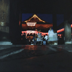 (masaaki miyara) Tags: light summer 120 6x6 film festival japan temple moving dance gate slow august 66 negative sound fujifilm  nagano zenkoji bondance 2012    bonodori hasselblad500cm       pro400h  80mmf28 carlzeissplanar  paperlantarn festivalforthedead
