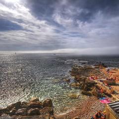 Mystery Beach (marcovdz) Tags: sun mist france beach fog soleil marseille baigneurs rocks rocky plage hdr sunbathers bronzage brume rochers bathers rocheuse 3xp pointerouge