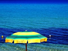 "good bye ""hot"" summer!!!!. (Jedidi) Tags: sardegna sea summer colors umbrella mare estate colori afa ombrellone costarey sultriness"