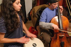 Nina and Jonathan (alankin) Tags: thanksgiving people music musicians portraits jonathan pennsylvania djembe cello nina havertown niknala nikkoraf24mmf28 nikond300 27nov2008 2100138a